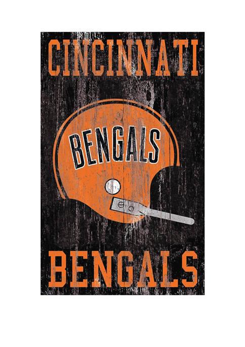 NFL Cincinnati Bengals 11 in x 19 in Heritage Distressed Logo Sign