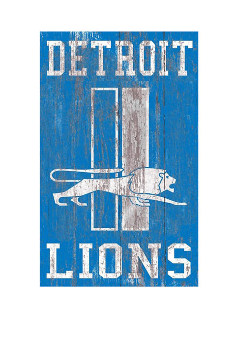 NFL Detroit Lions 11 in x 19 in Heritage Distressed Logo Sign