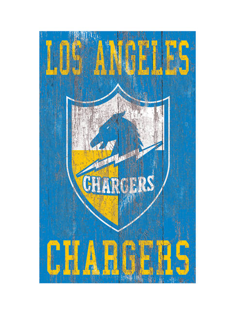 NFL Los Angeles Chargers 11 in x 19 in Heritage Distressed Logo Sign