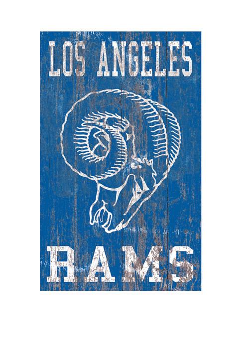 NFL LA Rams 11 in x 19 in Heritage Distressed Logo Sign