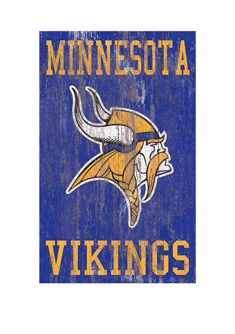 NFL Minnesota Vikings 11 in x 19 in Heritage Distressed Logo Sign