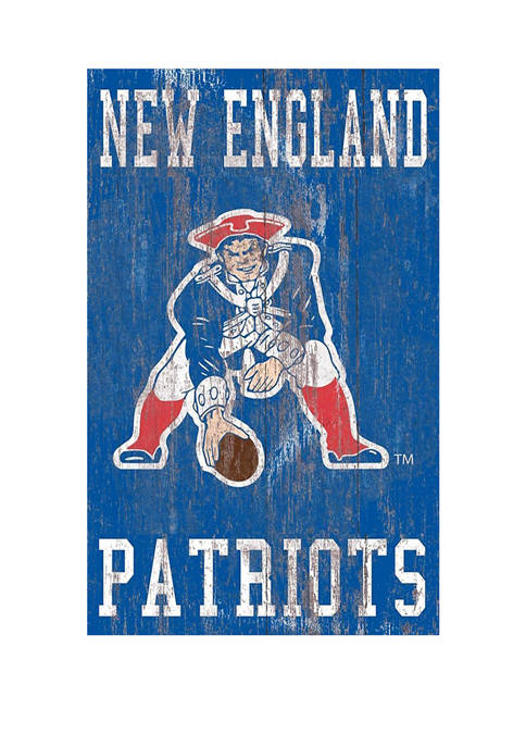 NFL New England Patriots 11 in x 19 in Heritage Distressed Logo Sign
