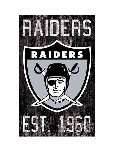 NFL Oakland Raiders 11 in x 19 in Heritage Distressed Logo Sign