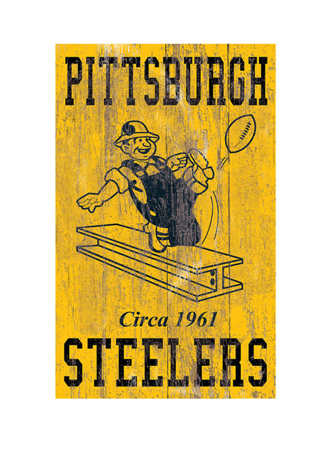 NFL Pittsburgh Steelers 11 in x 19 in Heritage Distressed Logo Sign