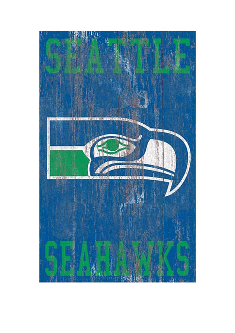 NFL Seattle Seahawks 11 in x 19 in Heritage Distressed Logo Sign