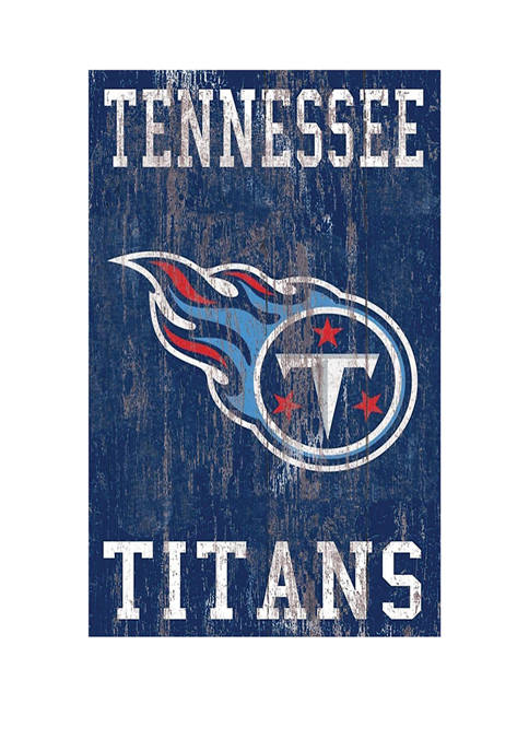 NFL Tennessee Titans 11 in x 19 in Heritage Distressed Logo Sign