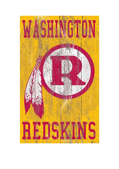 NFL Washington Redskins 11 in x 19 in Heritage Distressed Logo Sign