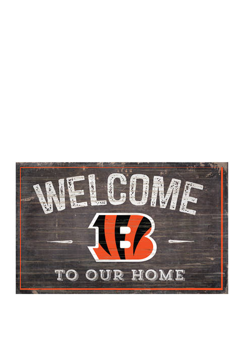 NFL Cincinnati Bengals 11 in x 19 in Welcome to Our Home Sign