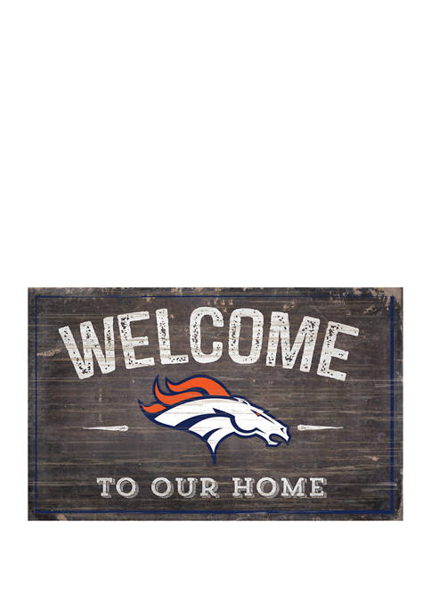 NFL Denver Broncos 11 in x 19 in Welcome to Our Home Sign