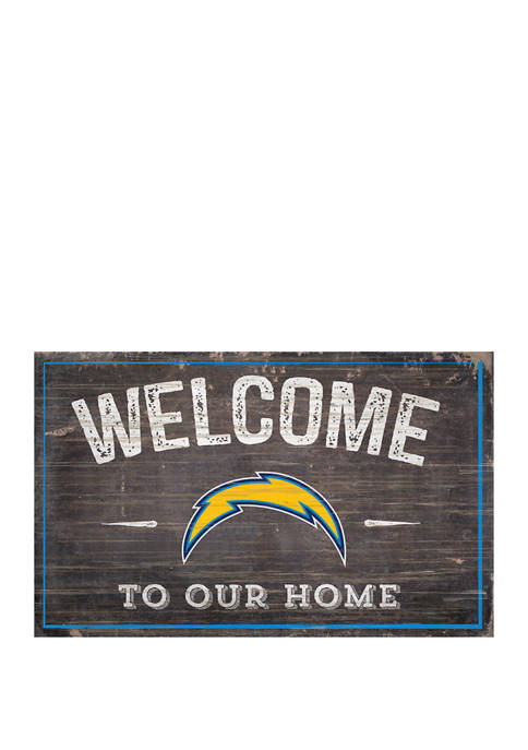 NFL Los Angeles Chargers 11 in x 19 in Welcome to Our Home Sign