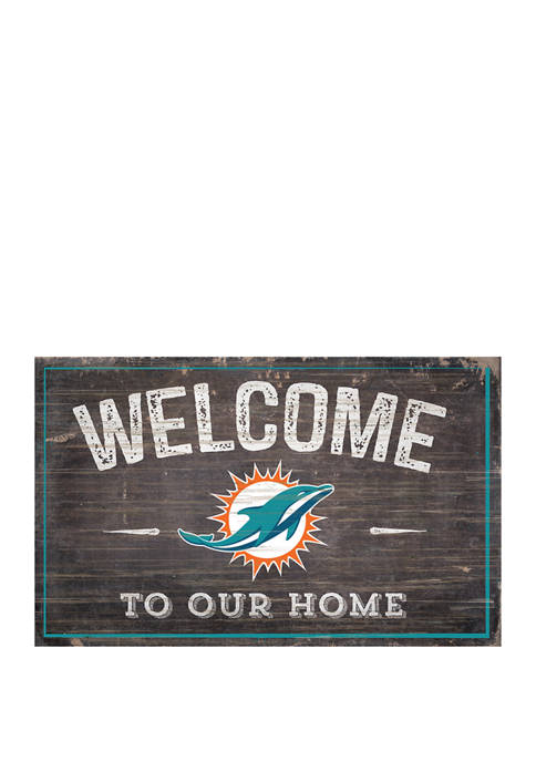 NFL Miami Dolphins 11 in x 19 in Welcome to Our Home Sign
