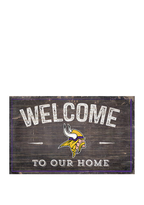 NFL Minnesota Vikings 11 in x 19 in Welcome to Our Home Sign