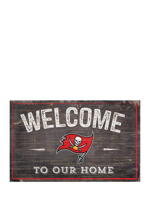 NFL Tampa Bay Buccaneers 11 in x 19 in Welcome to Our Home Sign