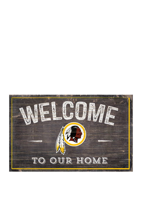 NFL Washington Redskins 11 in x 19 in Welcome to Our Home Sign
