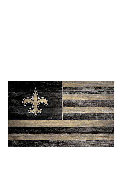 NFL New Orleans Saints 11 in x 19 in Distressed Flag Sign