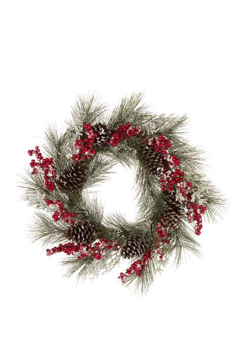 Glitz Home 24 Inch Flocked Pinecone and Berry