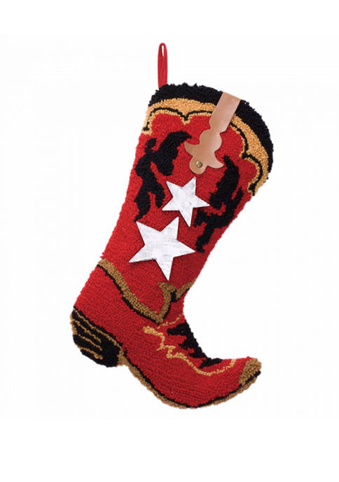 Glitz Home Hooked Stocking, Red Boot