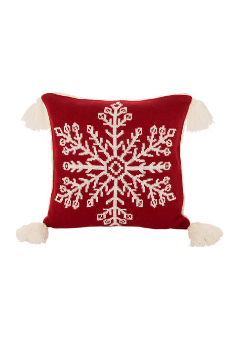 Glitz Home Knitted Snowflake Acrylic Red Pillow Cover