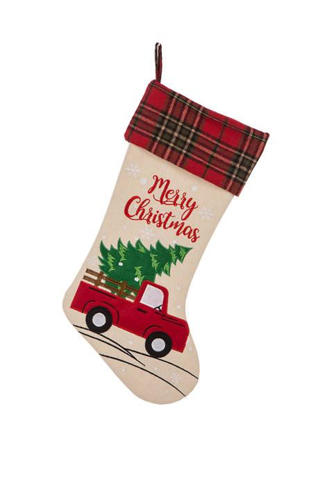 Glitz Home Embroidered Linen Christmas Stocking