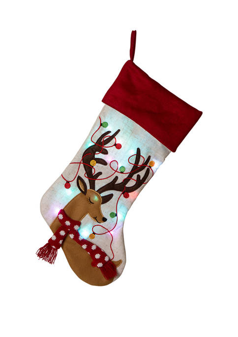 Glitz Home LED Embroidered Linen Christmas Stocking