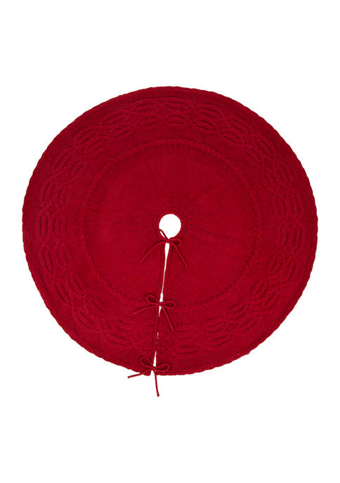 Glitz Home Knitted Polyester Red Christmas Tree Skirt
