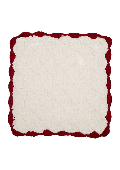 Glitz Home Knitted Polyester White Pillow Cover with