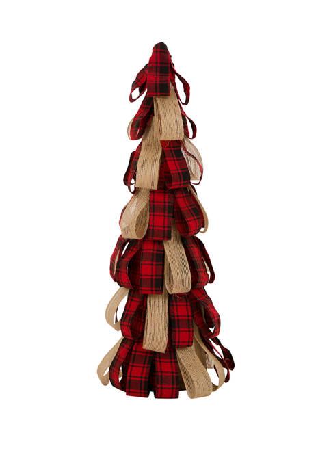Glitz Home 16.93 Inch Christmas Plaid Fabric/Burlap Table
