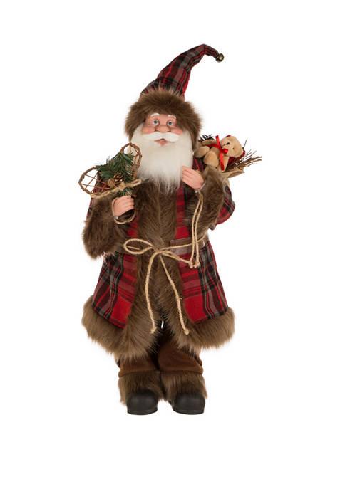 24 Inch Plaid Christmas Santa Claus Figurine