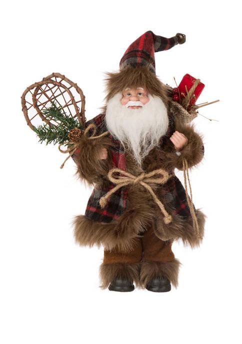Glitz Home 12 Inch Plaid Christmas Santa Claus