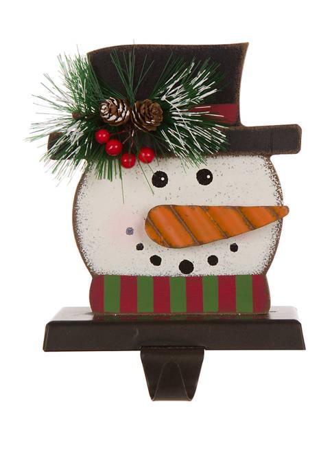 Glitz Home Wooden/Metal Snowman Head Stocking Holder