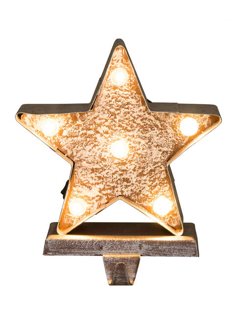 Glitz Home Marquee LED Wooden/Metal Star Stocking Holder