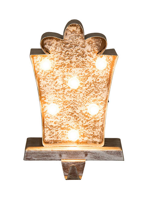 Glitz Home Marquee LED Wooden/Metal Gift Box Stocking