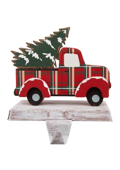 Glitz Home Wooden/Metal Red Truck Stocking Holder