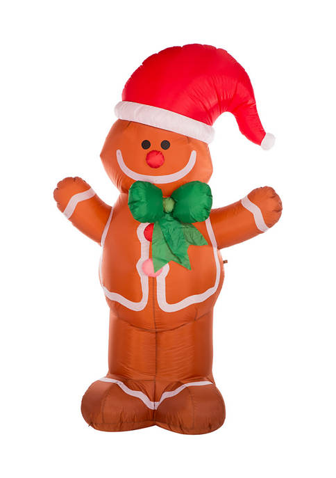 Glitz Home Lighted Inflatable Gingerbread Man Décor