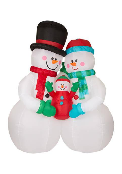 Glitz Home Lighted Inflatable Snowman Family Décor