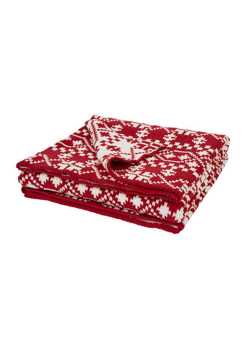 Glitz Home Chenille Knitted Snowflake Throw Blanket