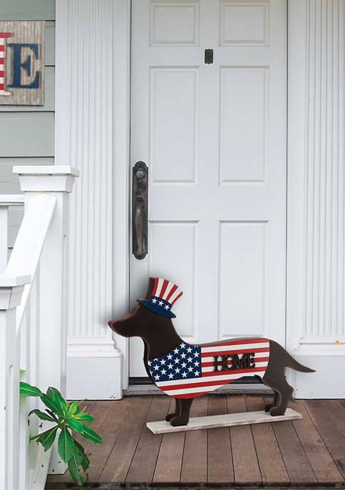 Glitz Home Patriotic Double Sided Dachshund Decor