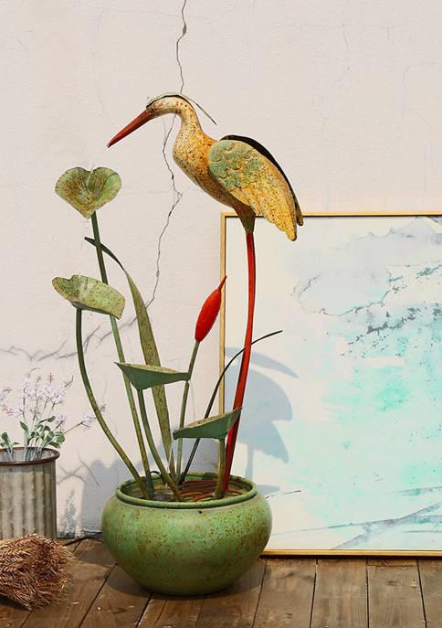 Glitz Home Antique Green Metal Pelican Fountain