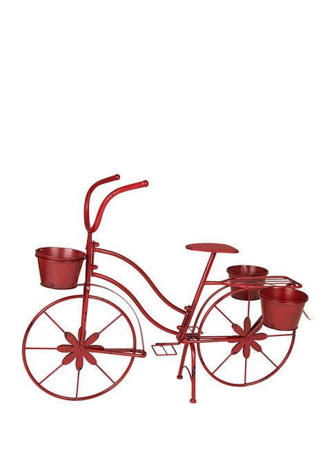 Glitz Home Metal Red Bicycle Planter Stand