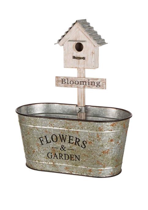Glitz Home Farmhouse Galvanized Metal Planter with Birdhouse