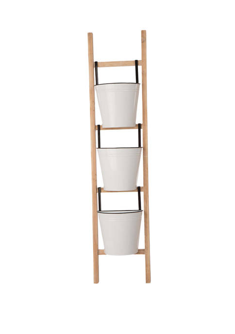 Glitz Home Enameled 3 Tier Leaning Ladder Planter