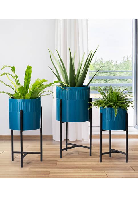Glitz Home Set of 3 Glossy Metal Planters