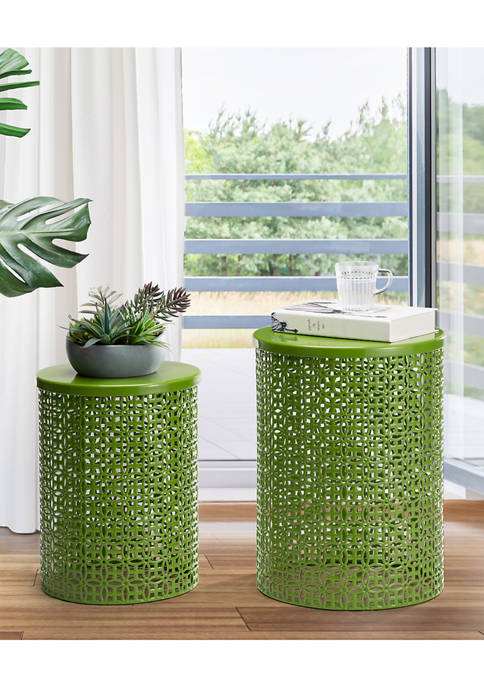 Multi-Functional Metal Garden Stool & Accent Table - Set of Two