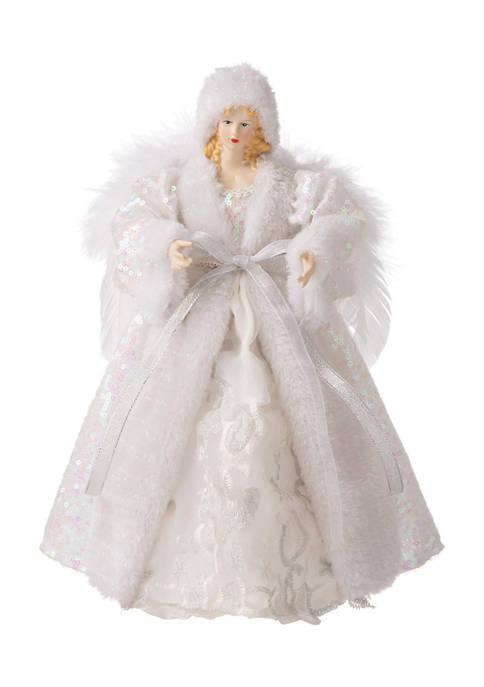 Glitz Home White Faux Fur Christmas Angel Tree
