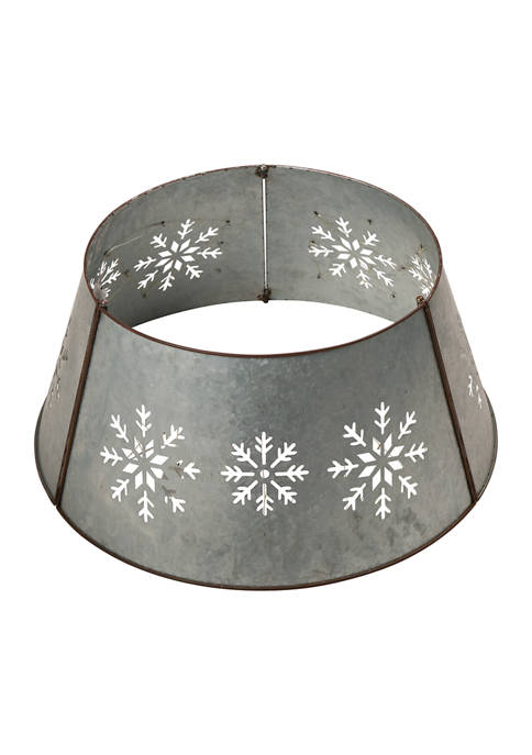 Glitz Home Snowflake Cutout Metal Tree Collar with