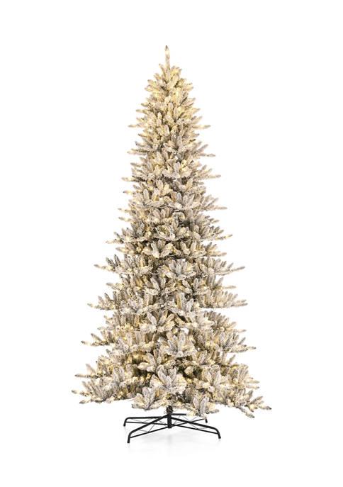 Glitz Home Pre-Lit Flocked Slim Fir Artificial Christmas