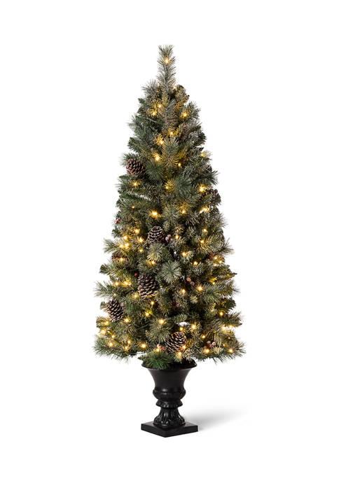 Glitz Home Pre-Lit Flocked Pine Artificial Christmas Porch