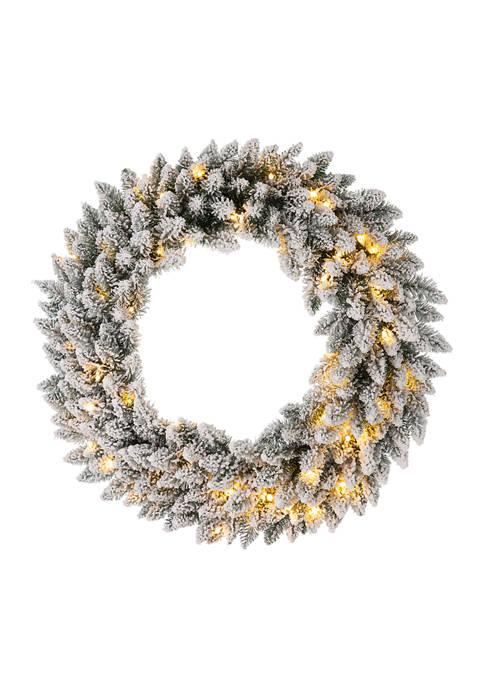 Glitz Home Pre-Lit Snow Flocked Christmas Wreath with