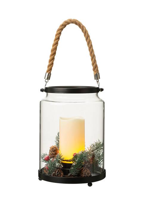 Glitz Home Christmas Greenery Glass Lantern