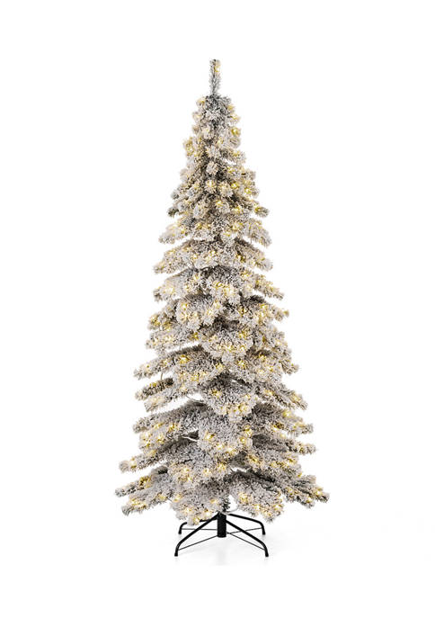 Glitz Home Pre-Lit Flocked Layered Spruce Artificial Christmas
